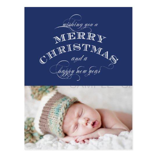 CHRISTMAS HOLIDAY PHOTO POSTCARD BLUE
