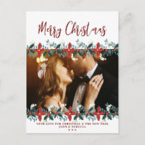 christmas holiday photo postcard floral