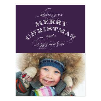 CHRISTMAS HOLIDAY PHOTO POSTCARD | PURPLE