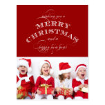 CHRISTMAS HOLIDAY PHOTO POSTCARD RED