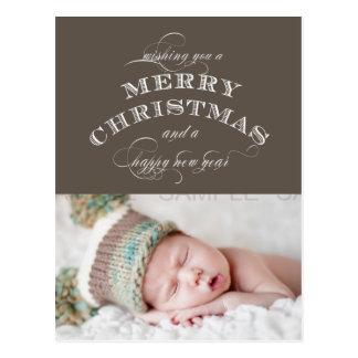CHRISTMAS HOLIDAY PHOTO POSTCARD TAUPE