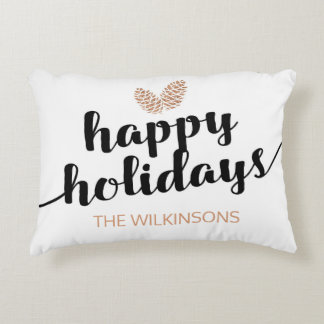 Christmas Holiday Pine Cones | Black White Decorative Pillow