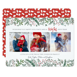 Christmas Holiday | Pine Tree | 3 Photos Card