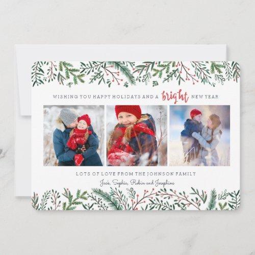 Christmas Holiday   Pine Tree   3 Photos Card