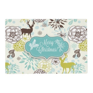 Christmas Holiday Placemat - Vintage Blue Deer