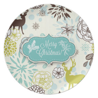 Christmas Holiday Plate - Vintage Blue Deer
