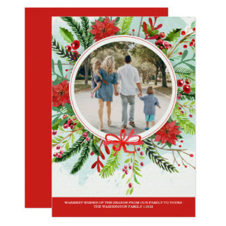 Christmas holiday poinsettia floral photo card