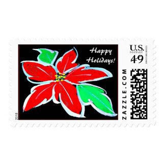 Christmas Holiday Poinsettia Flower Postage Stamps