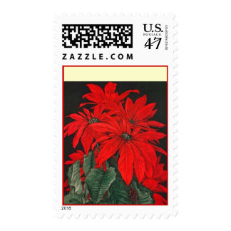 Christmas Holiday POINSETTIA Flower SQimage Stamps