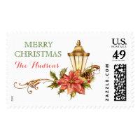 Christmas Holiday Poinsettia Monogram Customized Postage
