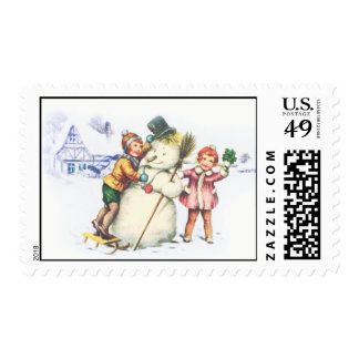 Christmas Holiday Postage Stamps Snowman