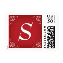 Christmas Holiday Postage Stamps with Monogram