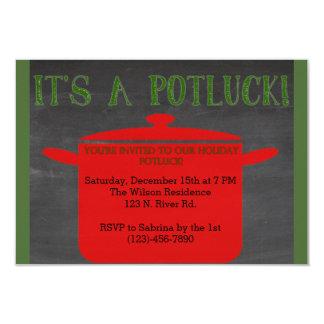 Christmas Holiday Potluck 3.5x5 Paper Invitation Card