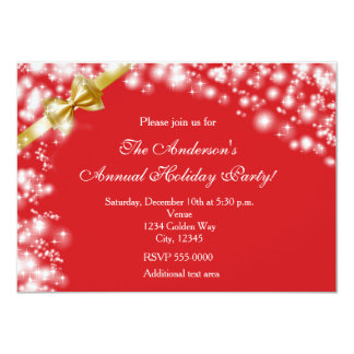 Christmas Holiday Red & Bow Sparkles Invitation