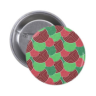 Christmas Holiday Red Green Spiral Pattern Pinback Buttons