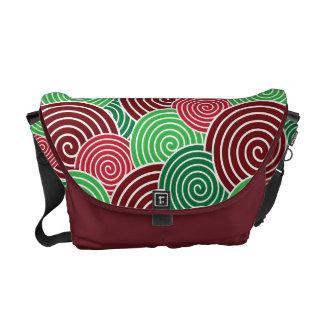 Christmas Holiday Red Green Spiral Pattern Messenger Bag