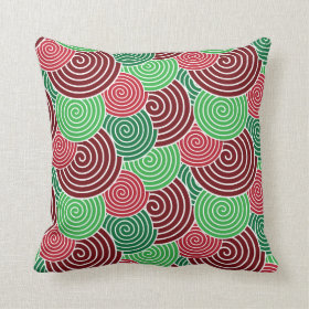 Christmas Holiday Red Green Spiral Pattern Pillow