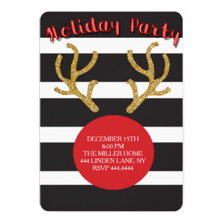 Christmas Holiday Red Nose Reindeer Invitations