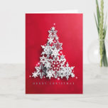 """Christmas Holiday Red with White Xmas Tree<br><div class=""""desc"""">Christmas Holiday Red with White Xmas Tree - pretty contemporary red background with subtle bokeh pattern.  White Christmas Tree made of snowflakes.  Customize with your own message! Coordinating Postage Stamp available in our Store</div>"""