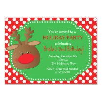 Christmas Holiday Reindeer Polka Dot Invitations