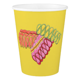Christmas Holiday Ribbon Candy Xmas Foodie Yellow Paper Cup