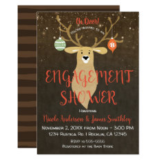 Christmas Holiday Rustic Deer Engagement Shower Card at Zazzle
