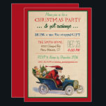 """Christmas Holiday Santa Invitation<br><div class=""""desc"""">Everyone loves Secret Santa! Invite your friends to celebrate the holidays with this lovely design featuring a vintage santa in his """"getaway car"""".</div>"""