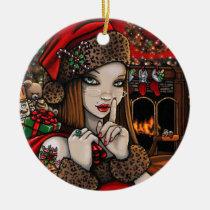 christmas, holiday, sassy, santa, cozy, retro, chris, present, cheer, myka, Ornament with custom graphic design