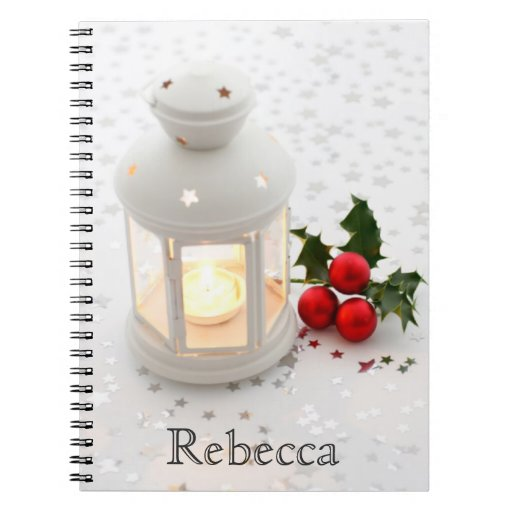 Christmas Holiday Season Lantern and Holly Berry Spiral Note Book