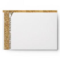 Christmas Holiday Season's Greetings Gold Glitter Envelope