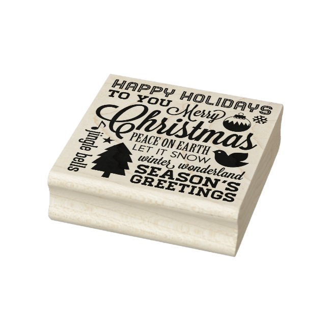 Christmas Holiday Sentiments Rubber Art Stamp