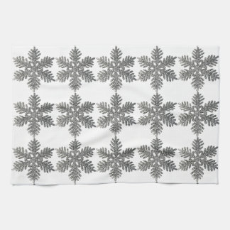Christmas Holiday Silver Snowflake Star Design Hand Towels