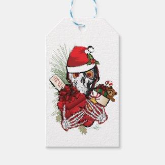 Christmas Holiday Skull Gift Tags