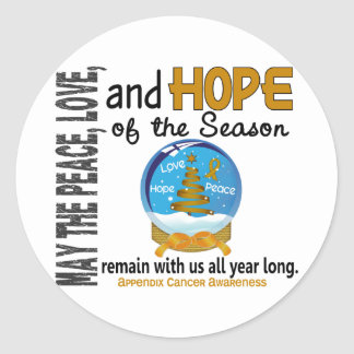 Christmas Holiday Snow Globe 1 Appendix Cancer Classic Round Sticker