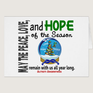 Christmas Holiday Snow Globe 1 Autism Card