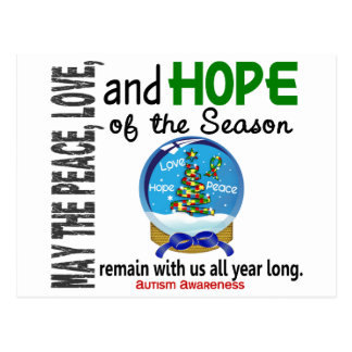 Christmas Holiday Snow Globe 1 Autism Postcard