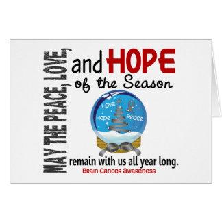 Christmas Holiday Snow Globe 1 Brain Cancer Greeting Card