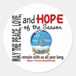 Christmas Holiday Snow Globe 1 Brain Tumor Round Stickers