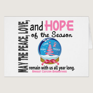 Christmas Holiday Snow Globe 1 Breast Cancer Card