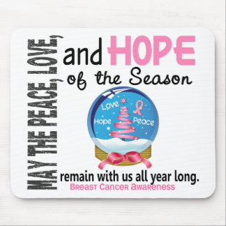 Christmas Holiday Snow Globe 1 Breast Cancer Mousepad