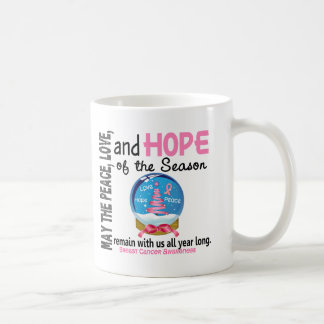 Christmas Holiday Snow Globe 1 Breast Cancer Mugs