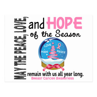 Christmas Holiday Snow Globe 1 Breast Cancer Postcard