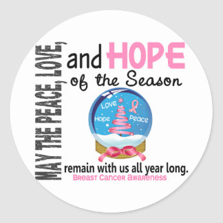 Christmas Holiday Snow Globe 1 Breast Cancer Round Stickers