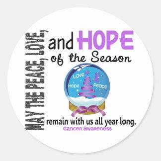 Christmas Holiday Snow Globe 1 Cancer Classic Round Sticker