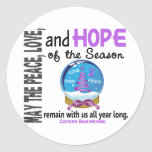 Christmas Holiday Snow Globe 1 Cancer Round Sticker