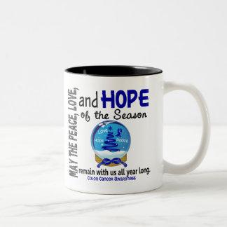 Christmas Holiday Snow Globe 1 Colon Cancer Two-Tone Coffee Mug