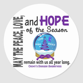 Christmas Holiday Snow Globe 1 Crohn's Disease Classic Round Sticker
