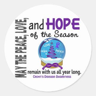 Christmas Holiday Snow Globe 1 Crohn's Disease Round Stickers