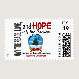 Christmas Holiday Snow Globe 1 Melanoma Postage
