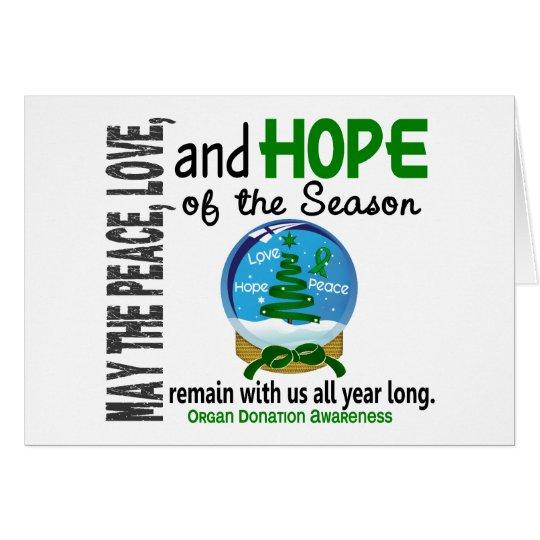 Christmas Holiday Snow Globe 1 Organ Donation Card